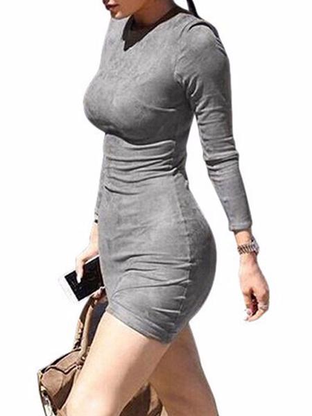 Milanoo Brown Bodycon Dresses Women V Neck Long Sleeves Short Dress