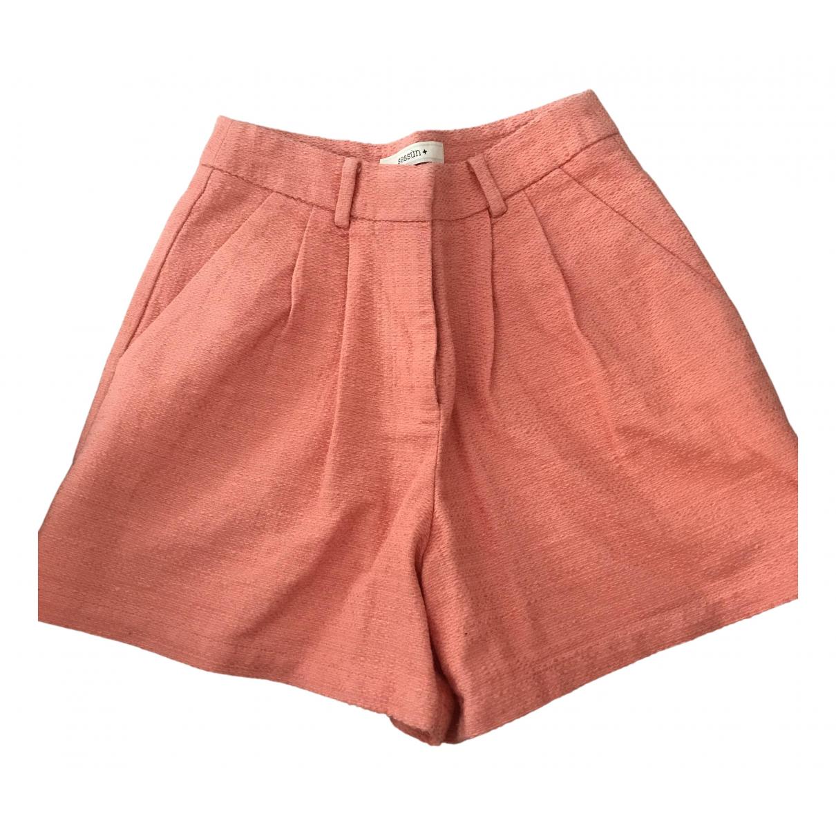 Sessun N Orange Cotton Shorts for Women 34 FR