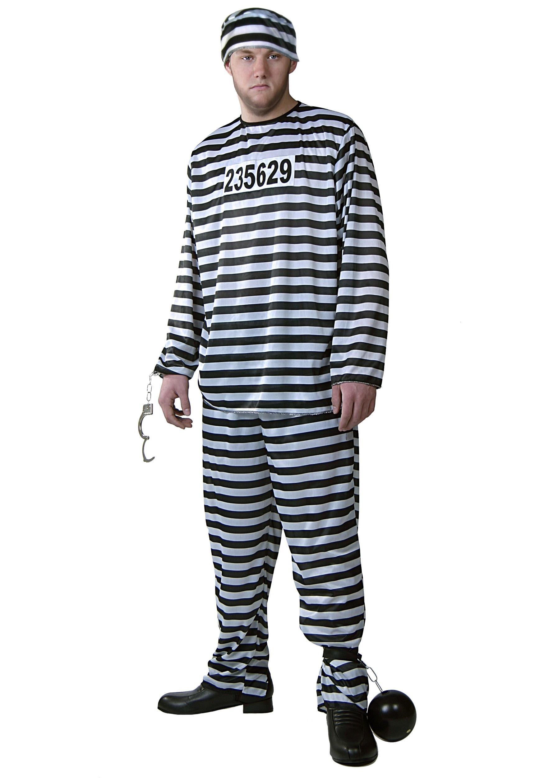 Plus Size Prisoner Costume for Men | Jailbird Halloween Costume