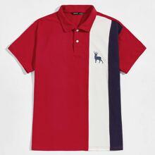 Men Deer Print Colorblock Polo Shirt