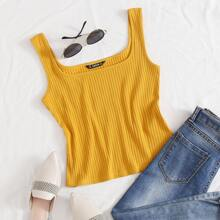 Solid Rib-knit Form Fitted Tank Top