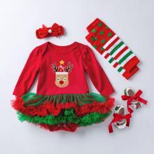 Baby Girl 4 Pack Elk And Striped Print Mesh Panel Bodysuit