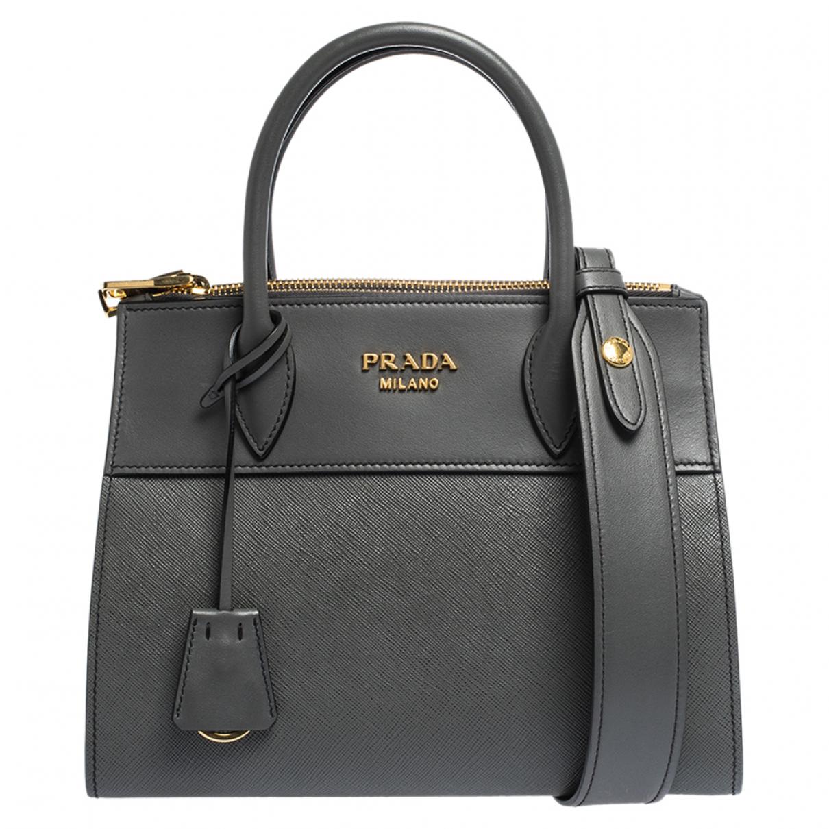 Prada Paradigme Handtasche in  Grau Leder