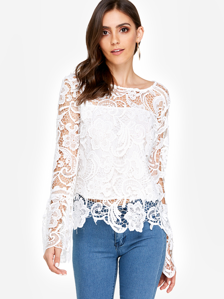 Yoins White See-through Lace Round Neck Long Sleeves Sexy Top
