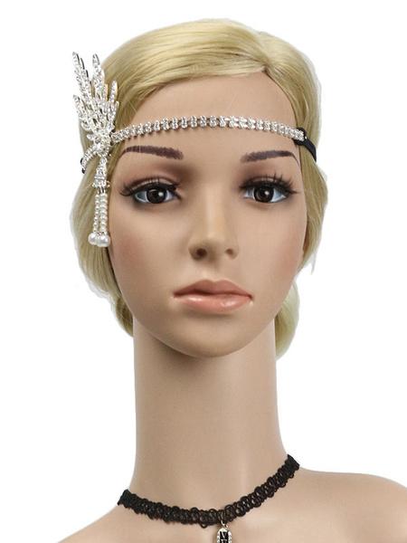 Milanoo Flapper Headpieces Rhinestone Women 1920s Great Gatsby Headband Retro Hair Accessories Halloween
