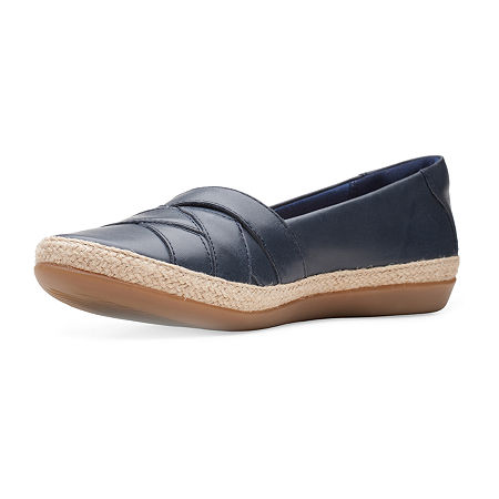 Clarks Womens Danelly Shine Round Toe Slip-On Shoe, 7 Wide, Blue
