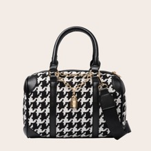 Lock Decor Houndstooth Graphic Duffle Bag