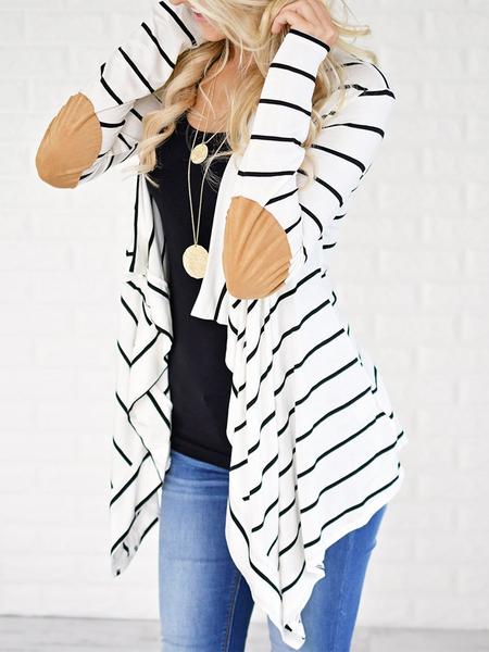 Yoins White Stripe Long Sleeves Cardigan