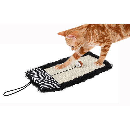 Pet Life 'Scrape-Away' Eco-Natural Sisal and JuteHanging Carpet Cat Scratcher with Toy, One Size , Black