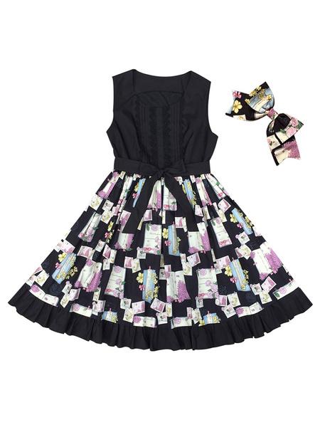Milanoo Sweet Lolita JSK Dress Spring Cane Printed Bows Sash Lolita Jumper Skirts
