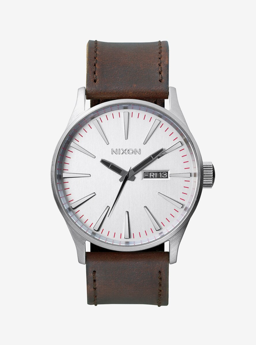 Nixon Sentry Leather Silver Brown Watch
