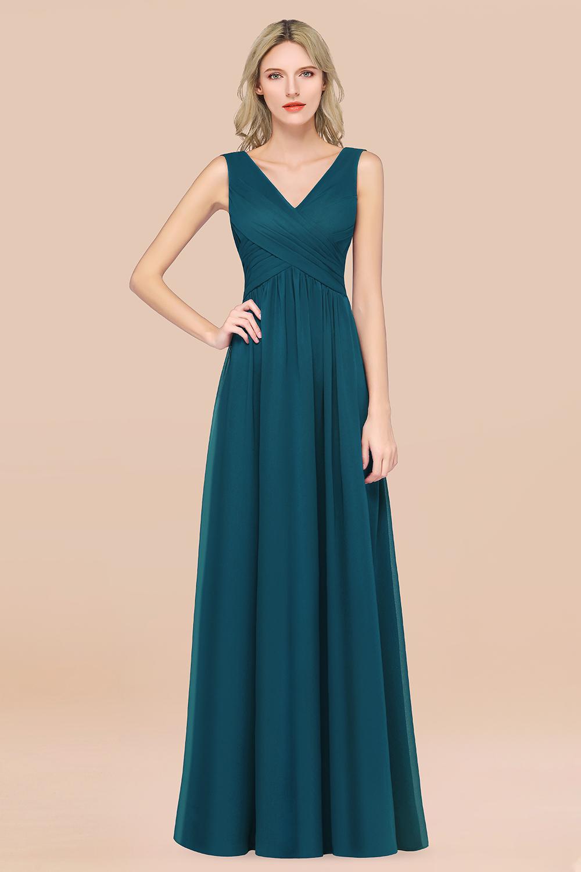 BMbridal Glamorous Chiffon V-Neck Sleeveless Burgundy Bridesmaid Dress with Draped Back