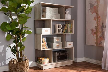 MH1165-OAK-BOOKCASE Baxton Studio Teagan Modern and Contemporary Oak Finished Display