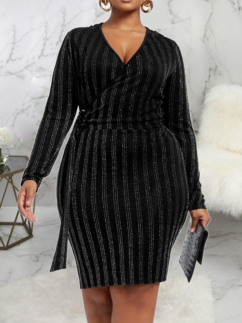 Ericdress Plus Size Knee-Length V-Neck Women's Bodycon Pullover Dress