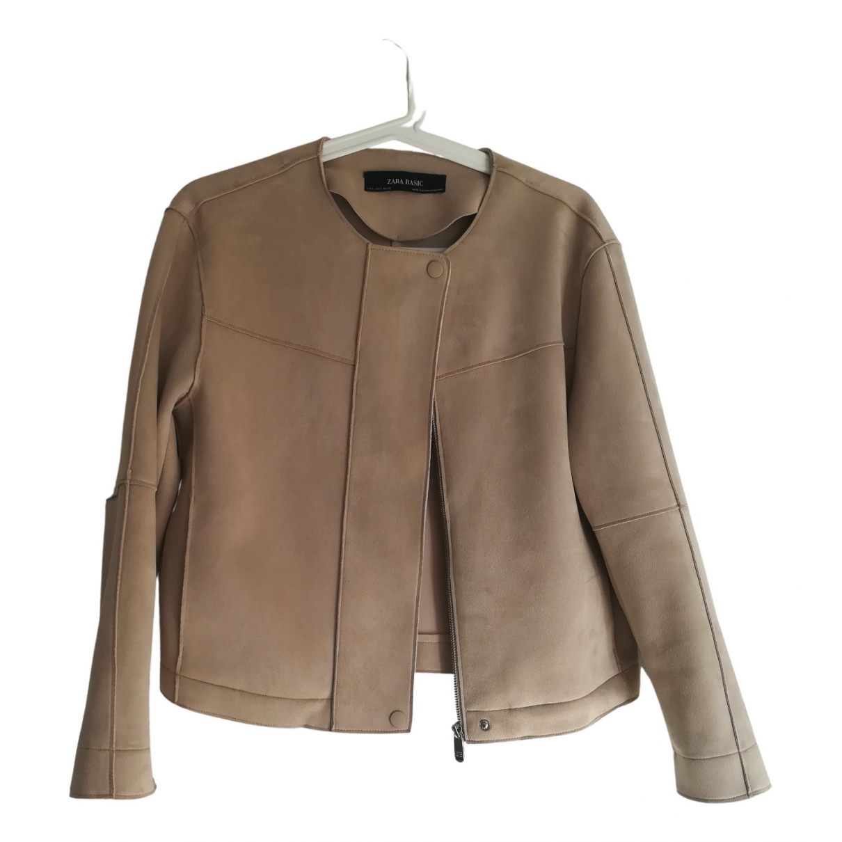 Zara - Veste   pour femme en suede - beige