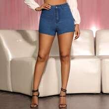 Patch Pocket Skinny Denim Shorts