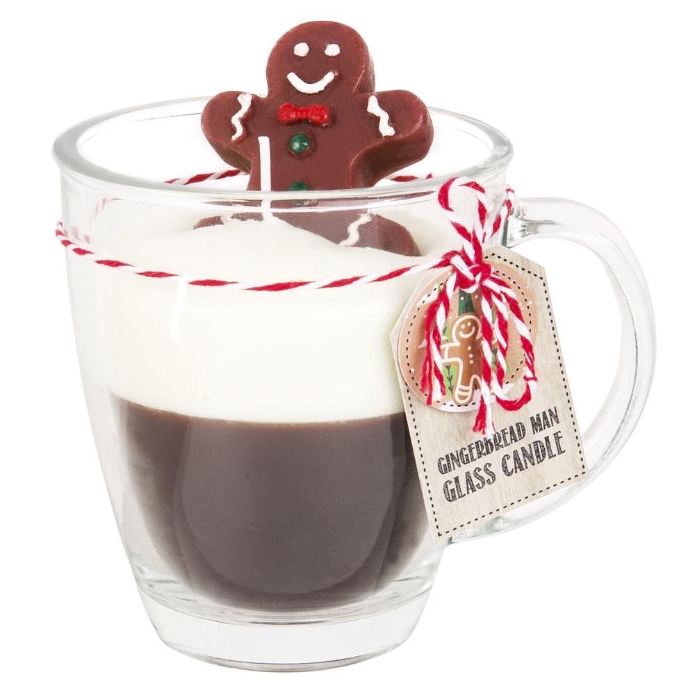 Weihnachtskerze in glaeserner Tasse