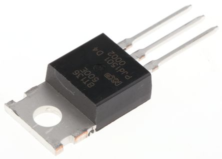 WeEn Semiconductors Co., Ltd BT136-600E,127 4A, 600V, TRIAC, Gate Trigger 1.5V 25mA, 3-pin, Through Hole, TO-220AB (10)