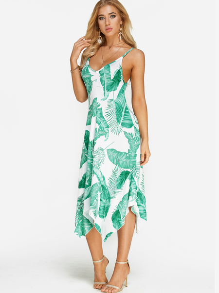 Yoins Green Tropical Floral Print V-neck Sleeveless Irregular Hem Maxi Dress