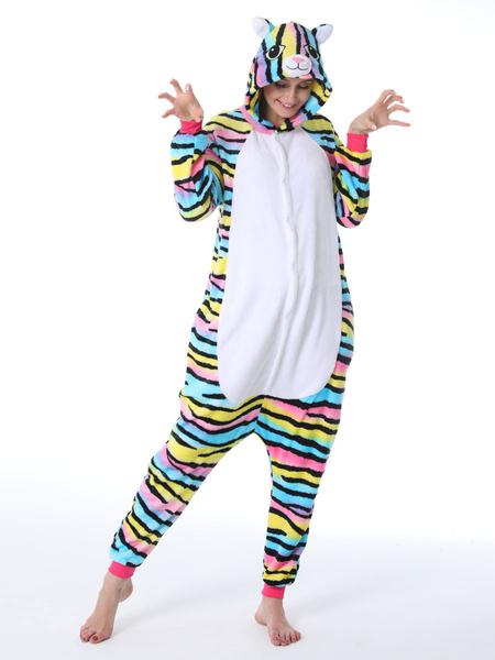 Milanoo Kigurumi Onesie Pajamas Rainbow Cat Easy Toilet for Adult Winter Sleepwear Animal Costume Halloween