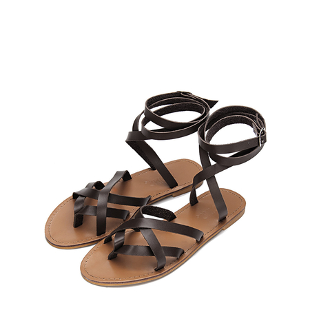Yoins Brown Pin Buckle Tie-up Ankle Strap Cross Over Flat Gladiator Sandals