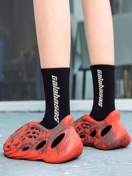Milanoo Sandalias de hombre Slip-On Artwork PU Leather EVA Sole Sandalias de verano para hombres