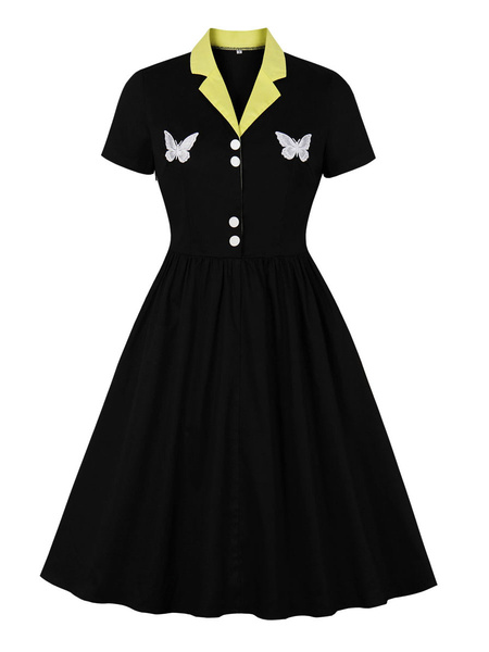 Milanoo Vestido negro vintage 1950s Cuello vuelto Botones Manga corta en capas Vestido de columpio con bloques de color mariposa