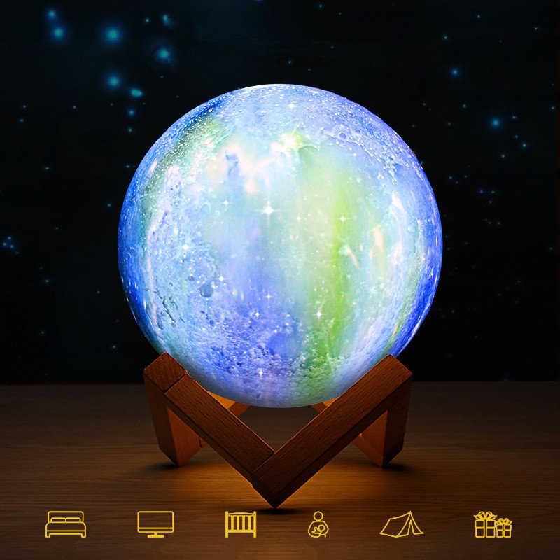 3D Printing Moon Lamp Space LED Night Light Remote Control USB Charge Best Gifts