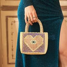 Tasche mit Kunstperlen Dekor und Farbblock