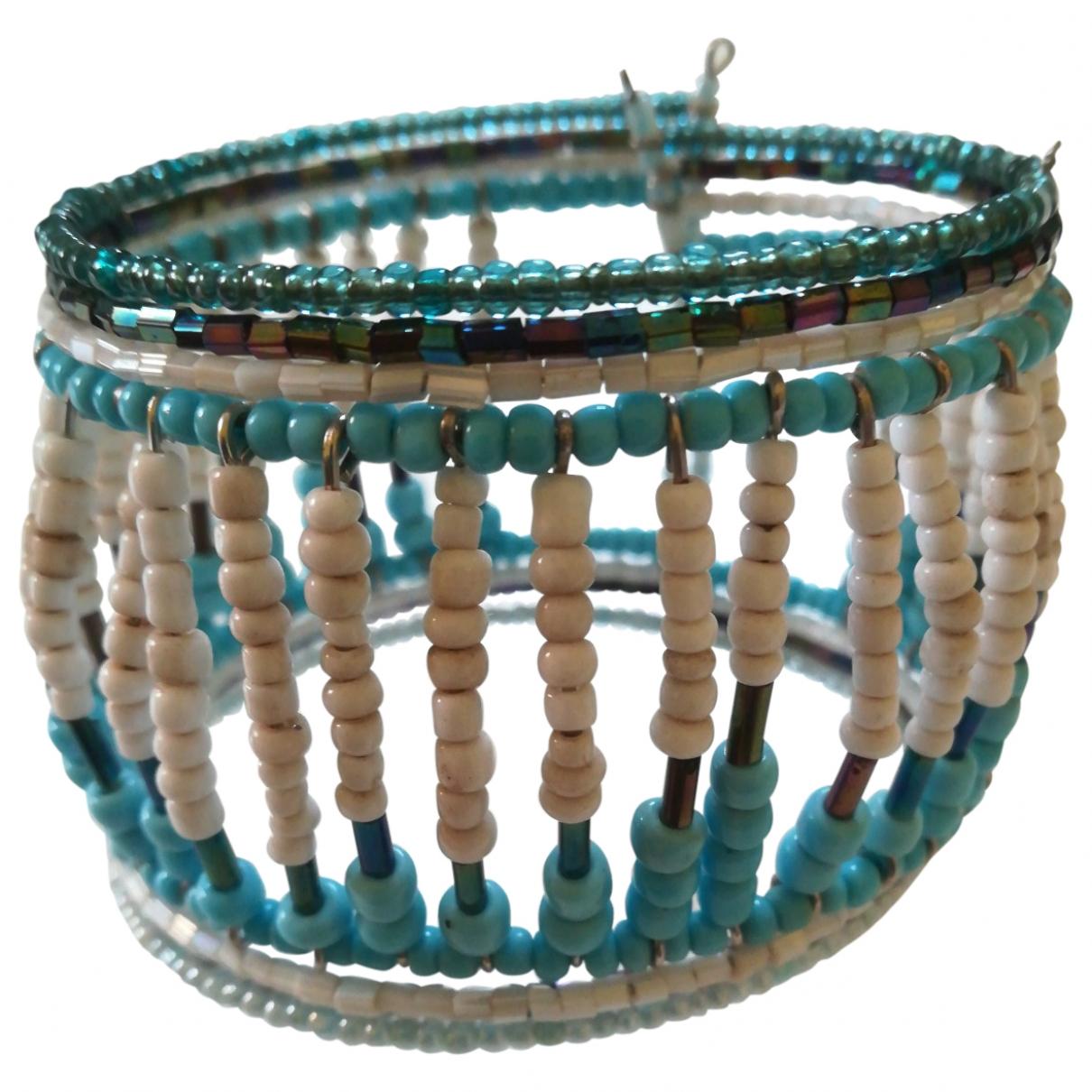 Non Signe / Unsigned Manchette Armband in  Marine Perlen