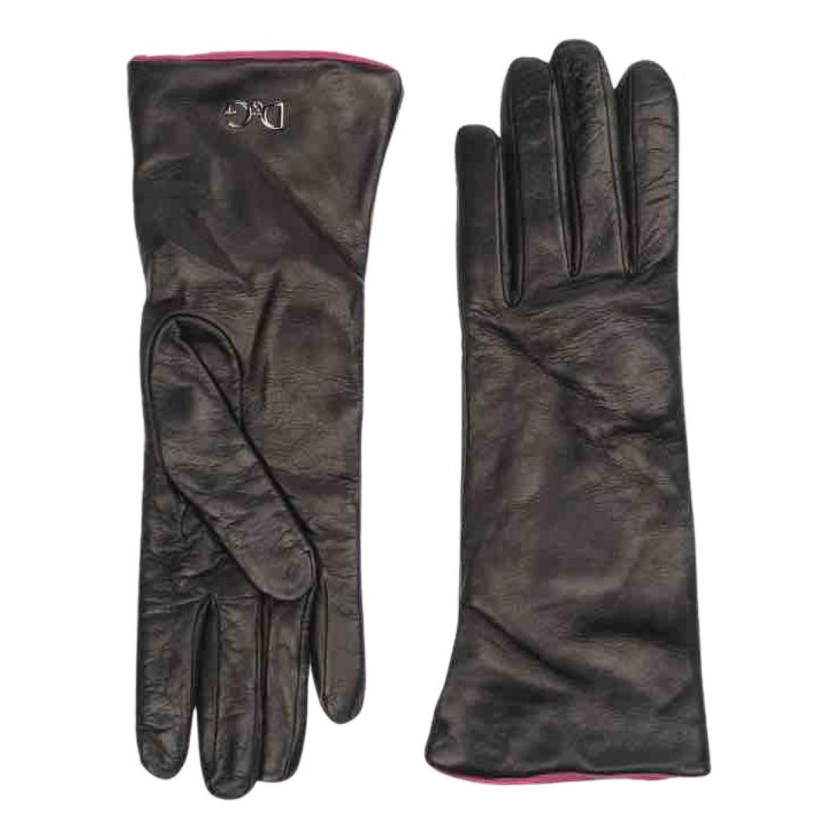 D&g \N Handschuhe in  Schwarz Leder