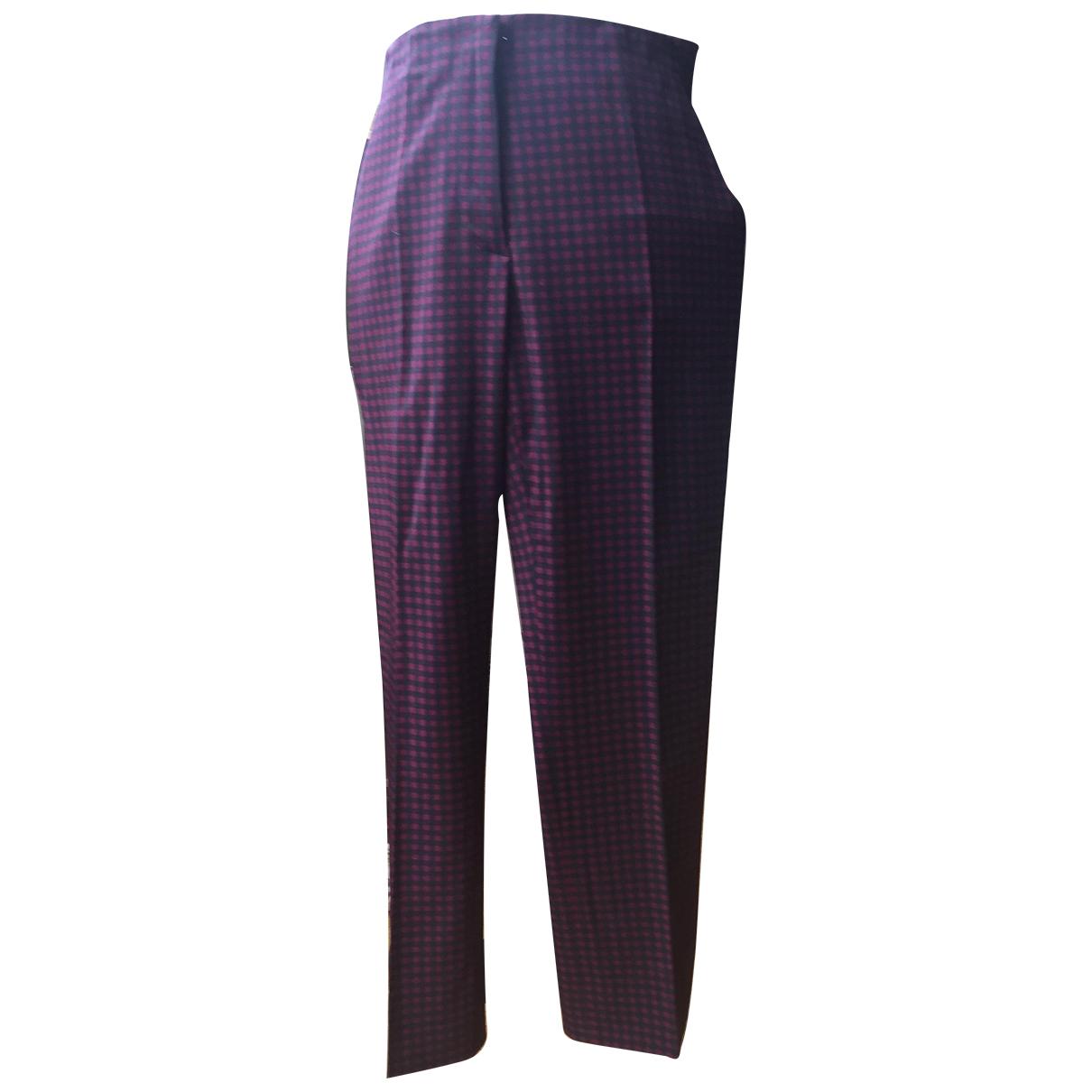 Prada N Burgundy Wool Trousers for Women 40 IT