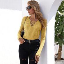 Crisscross Neckline Rib-knit Sweater