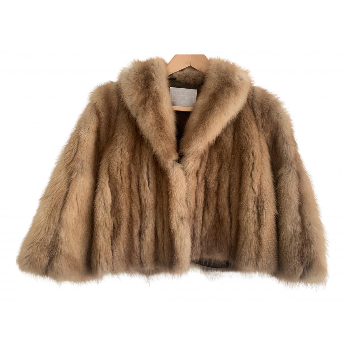 - Veste   pour femme en chinchilla - camel