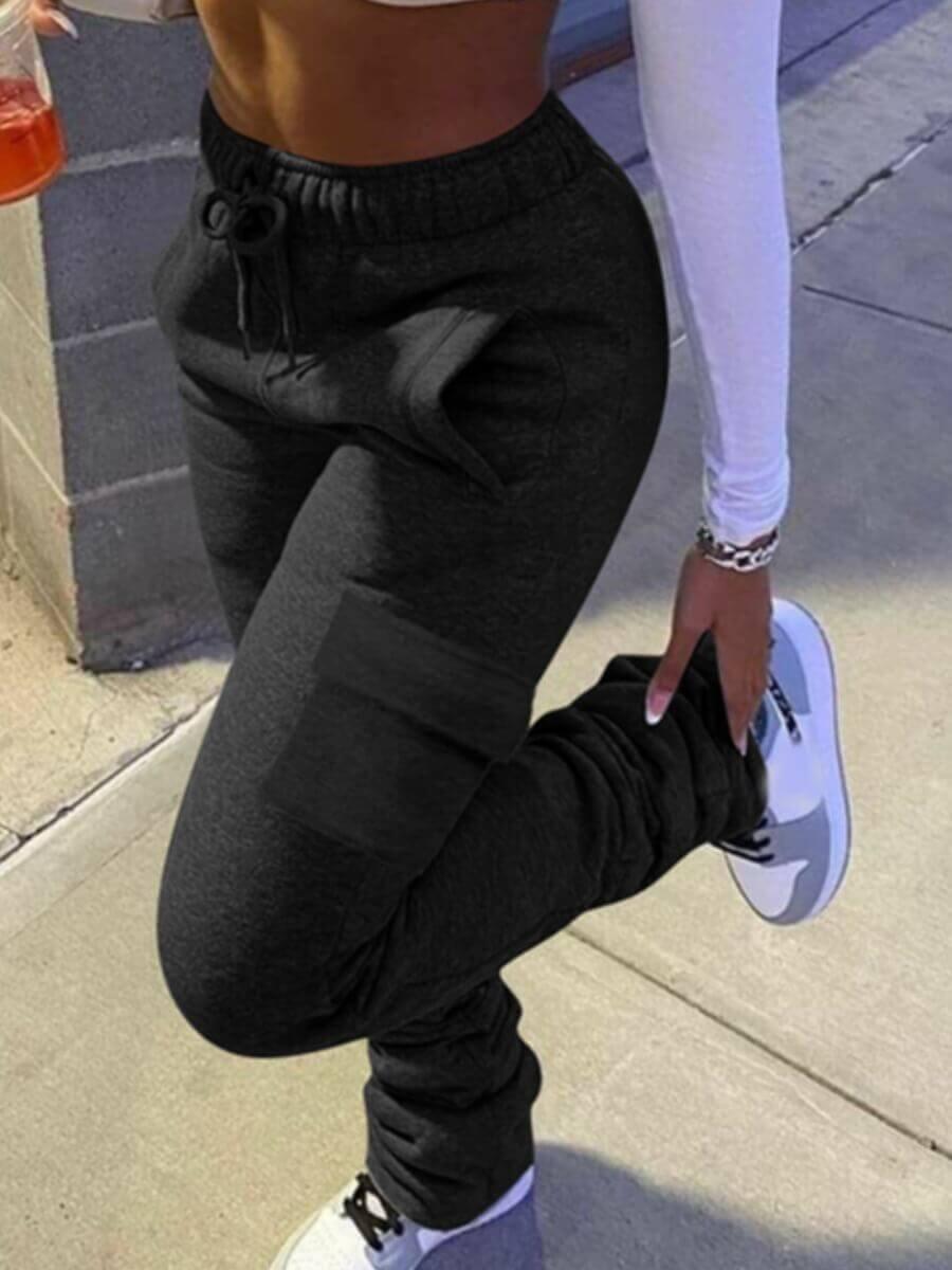 LW Lovely Casual Side Pocket Black Pants