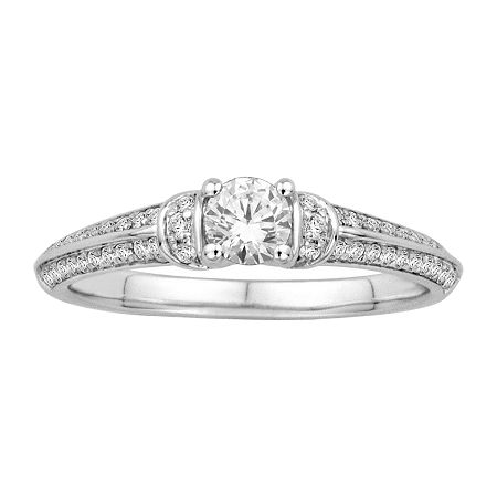 1/2 CT. T.W. Diamond 14K White Gold Engagement Ring, 6 , No Color Family