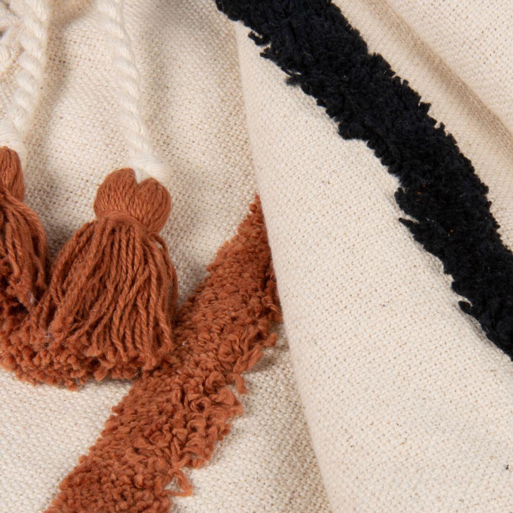 Baumwollplaid, beige, mit braunem Grafikdruck 130x170