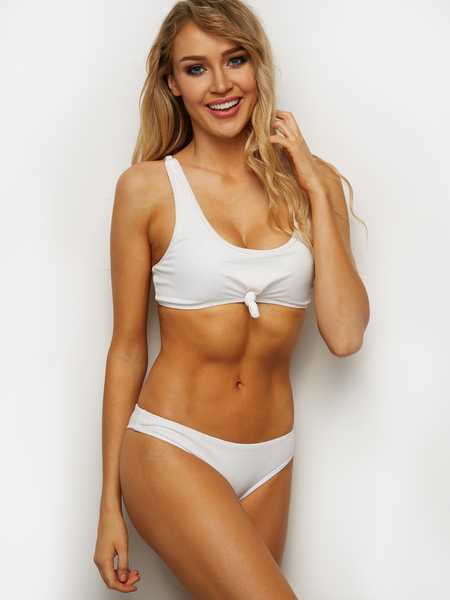 Yoins Sexy Plain Design Bikinis in White