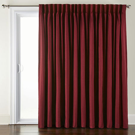 JCPenney Home Supreme Energy Saving Light-Filtering Pinch-Pleat Single Patio Door Curtain, One Size , Red