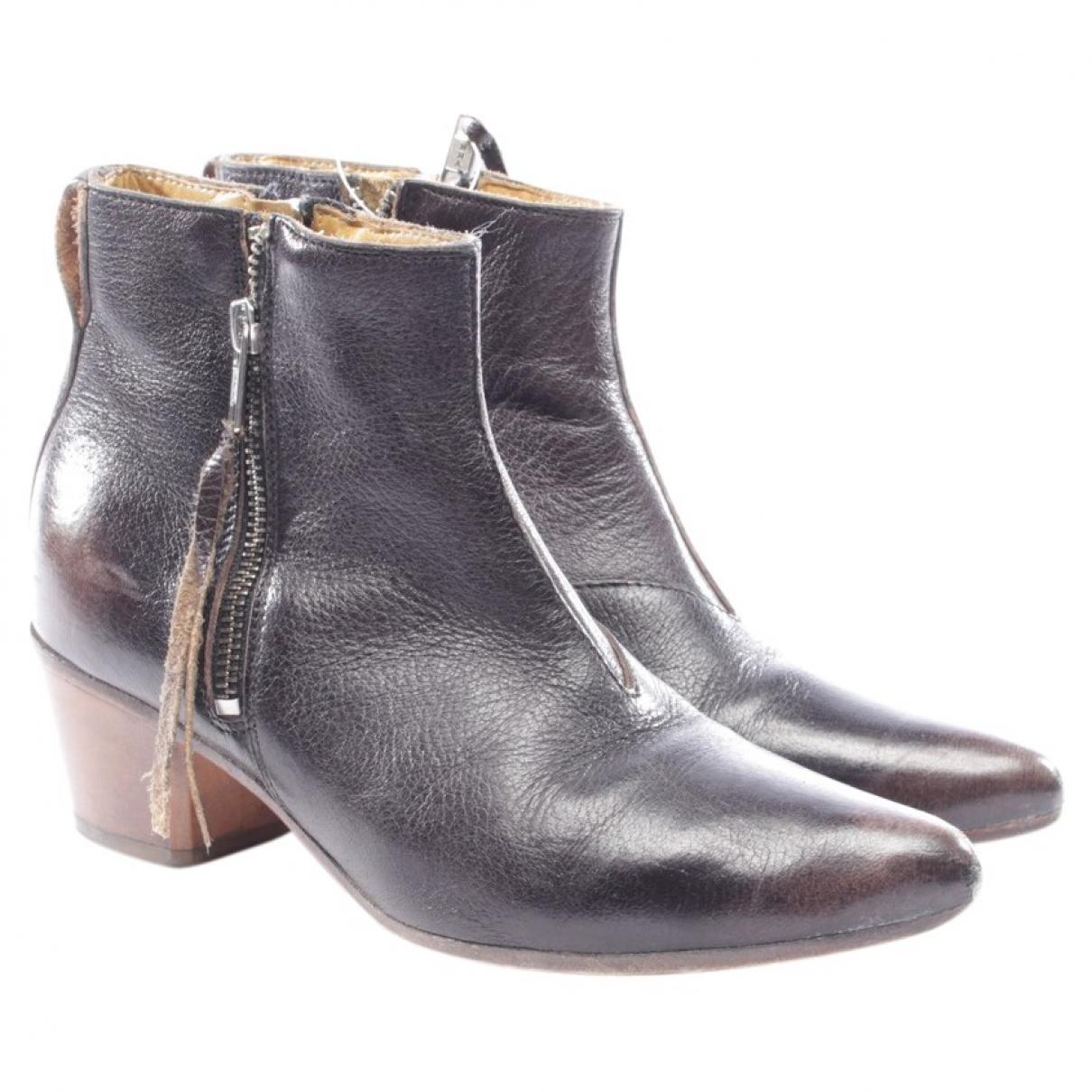 Moma - Boots   pour femme en cuir - noir
