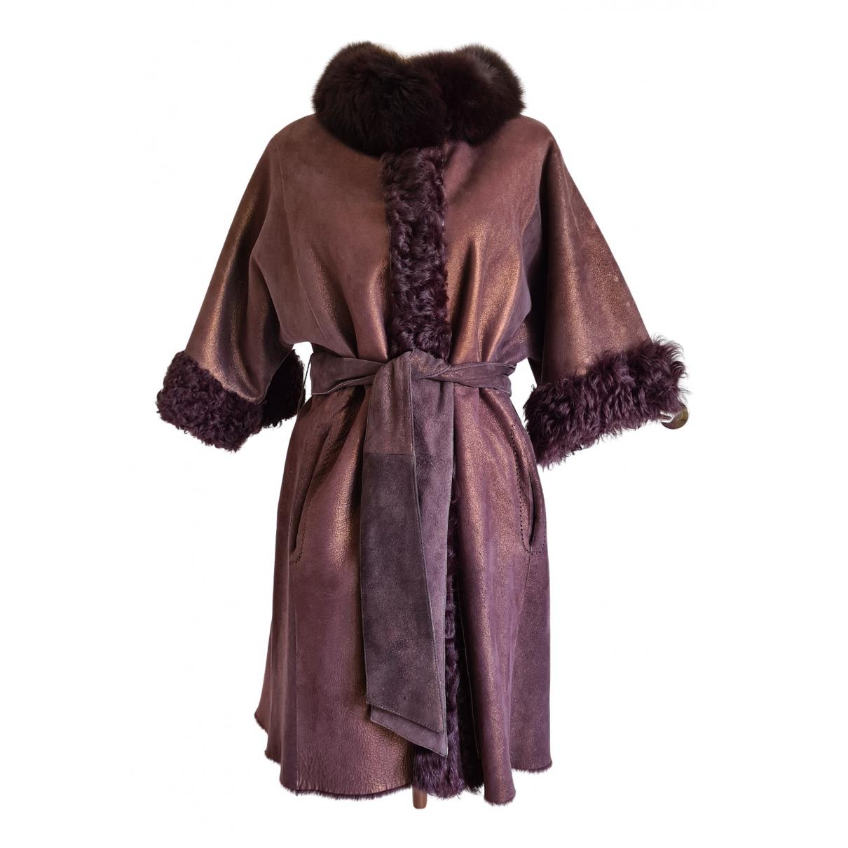 - Manteau   pour femme en agneau de mongolie - bordeaux