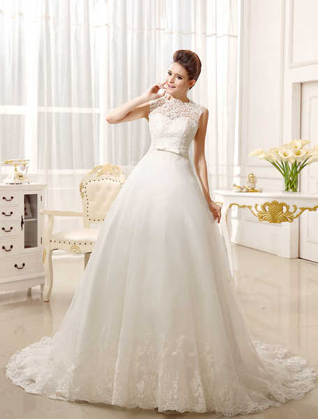 Milanoo Wedding Dresses Lace Applique Bridal Dress Bow Sash Sweetheart Illusion Train Wedding Gown