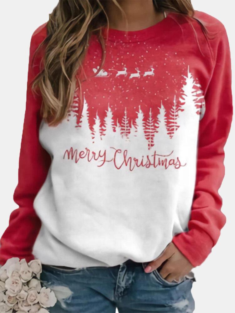 Christmas Letters Plants Print Long Sleeve Casual Sweatshirt For Women