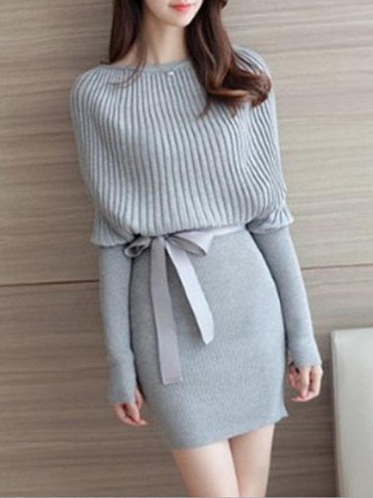Slim Knitted Long Sleeved Slash Neck Bodycon Sweater Dress