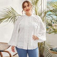 Blusas Extra Grandes Encaje en contraste Liso Bohemio