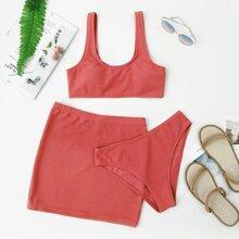 3 piezas Bañador bikini con textura con falda de playa