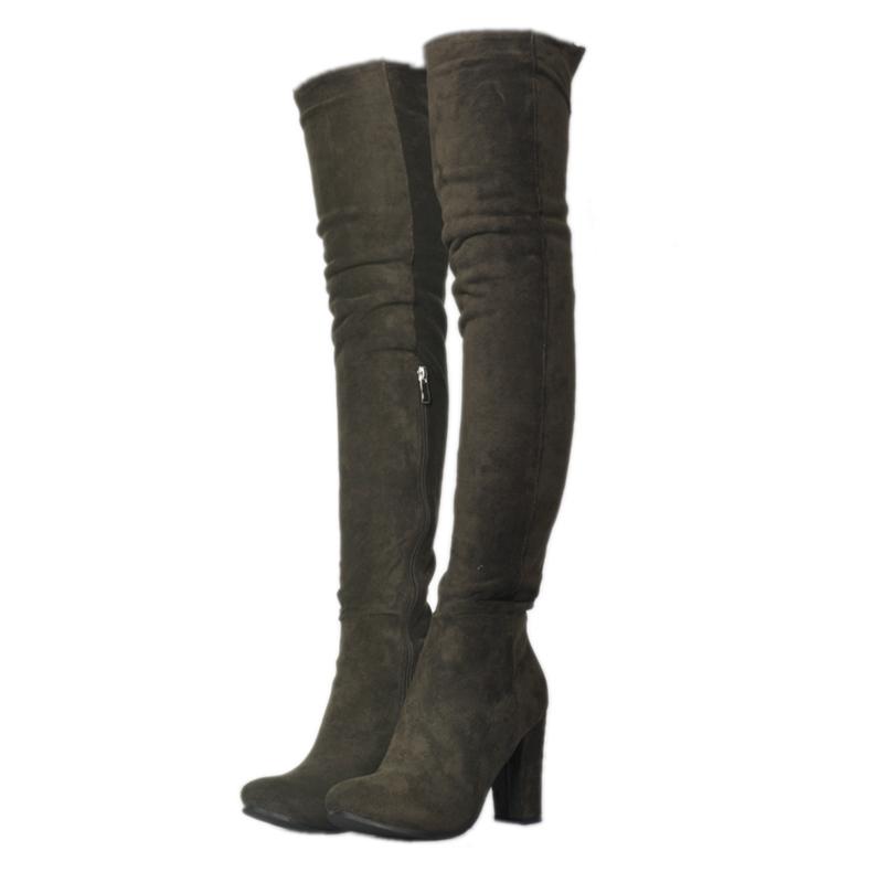 Ericdress Fashion Pink Velvet Chunky Heel Thigh High Boots