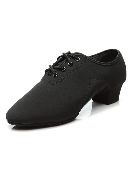 Milanoo Latin Dance Shoes Black Ballroom Shoes Men Round Toe Lace Up Dance Shoes For Men