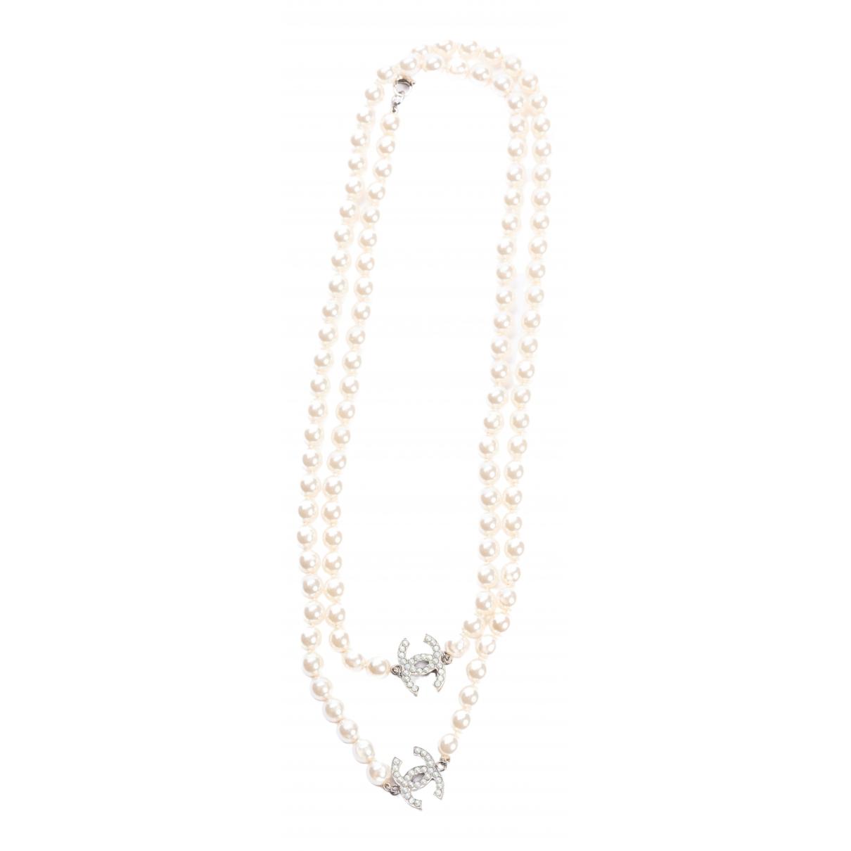 Chanel - Collier CC pour femme en perles - argente