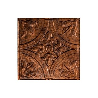 Fasade Traditional Style/Pattern #2 Decorative Vinyl 2ft x 4ft Glue Up Ceiling Tile in Moonstone Copper (5 Pack) (12x12 Inch Sample)